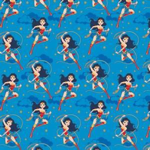 Bilde av bomull stoff Blue DC Girl Heroes w/Glitter