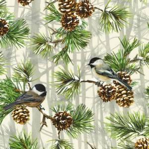 Bilde av Bomullstoff Birds Chickadee