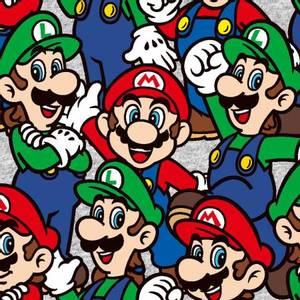 Bilde av Bomull stoff med Nintendo Super Mario og Lugi