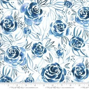 Bilde av Bomullstoff Moody Bloom Digital flower Indigo