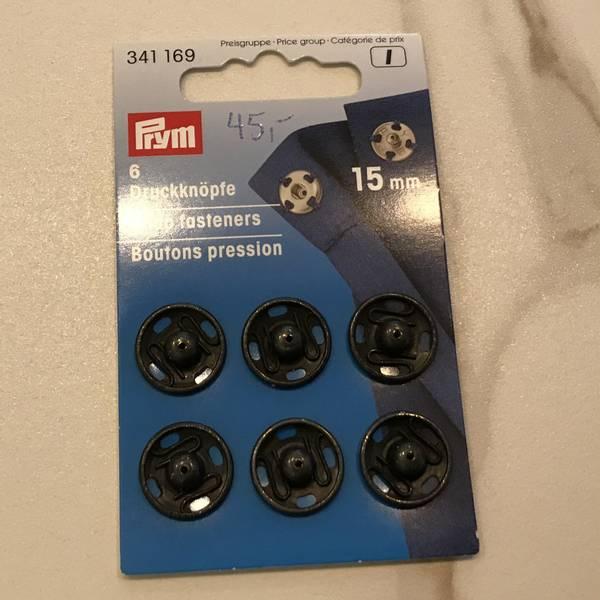 Trykknapper metall svart 15 mm 6stk