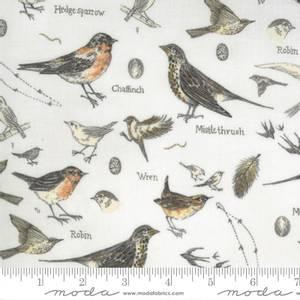Bilde av Moda Bomull stoff Fugler Botanicals Parchment