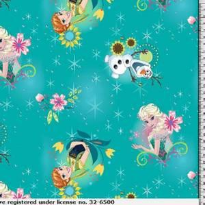 Bilde av Bomullsjersey Disney Elsa og Anna Frost turkis
